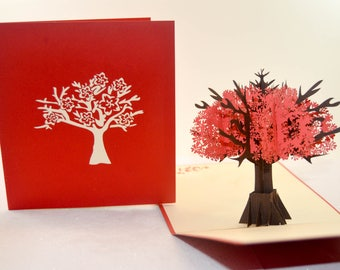 Blooming Tree, Bouquet pop up card, Thank You Greeting Card, Get Well, 3D card, Special Thanks