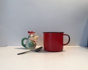 Large Red Enamelware Mug * Enamelware Cup * Coffee Mug * Coffee Cup * French Country * Farmhouse Kitchen * Primitive