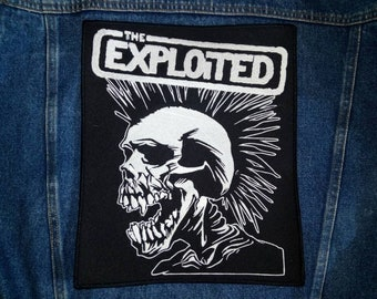The exploited patch, punk band patch, embroidered skull patch, patch clothing. 3 size.