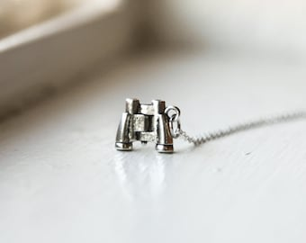 The Explorer Necklace with Binoculars- 925 Sterling Silver or Silver Tone Chain  -Modern Style Jewelry- Stocking Stuffer