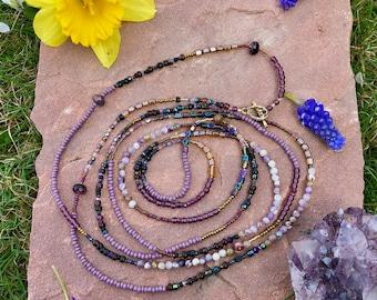 Bohemian Purple Czech Glass Versatile Necklace or Bracelet