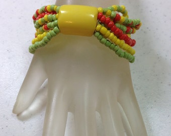 "Vintage Yellow Green and Orange Beaded Stretch Bangle Bracelet Fits Wrist Size 6.5"" to 8"" Handmade OOAK Previously 15 Dollars ON SALE"