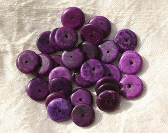 20pc - Pearl Turquoise Rondelles 12 x 2-3mm purple 4558550016287 synthesis