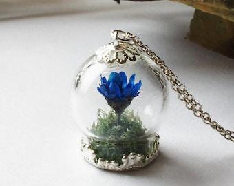 Blue Flower Terrarium Necklace, Terrarium Jewelry, Botanical Jewelry, Gemstone Bottle Pendant Dried flower necklace Real plant