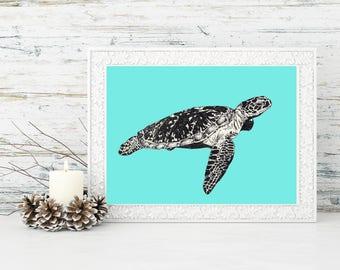 8x10 downloadable Sea Turtle Print, printable art, digital