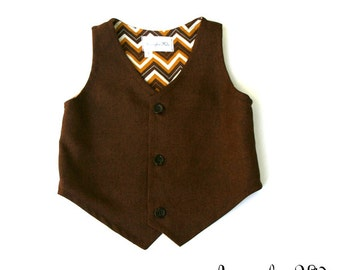 The Jacob Boys Brown Vest, Toddler Formal Wear, Wedding Ring Bearer Outfit, Boys Wedding Vest, Toddler Boys Wedding Vest, Page Boy Outfit