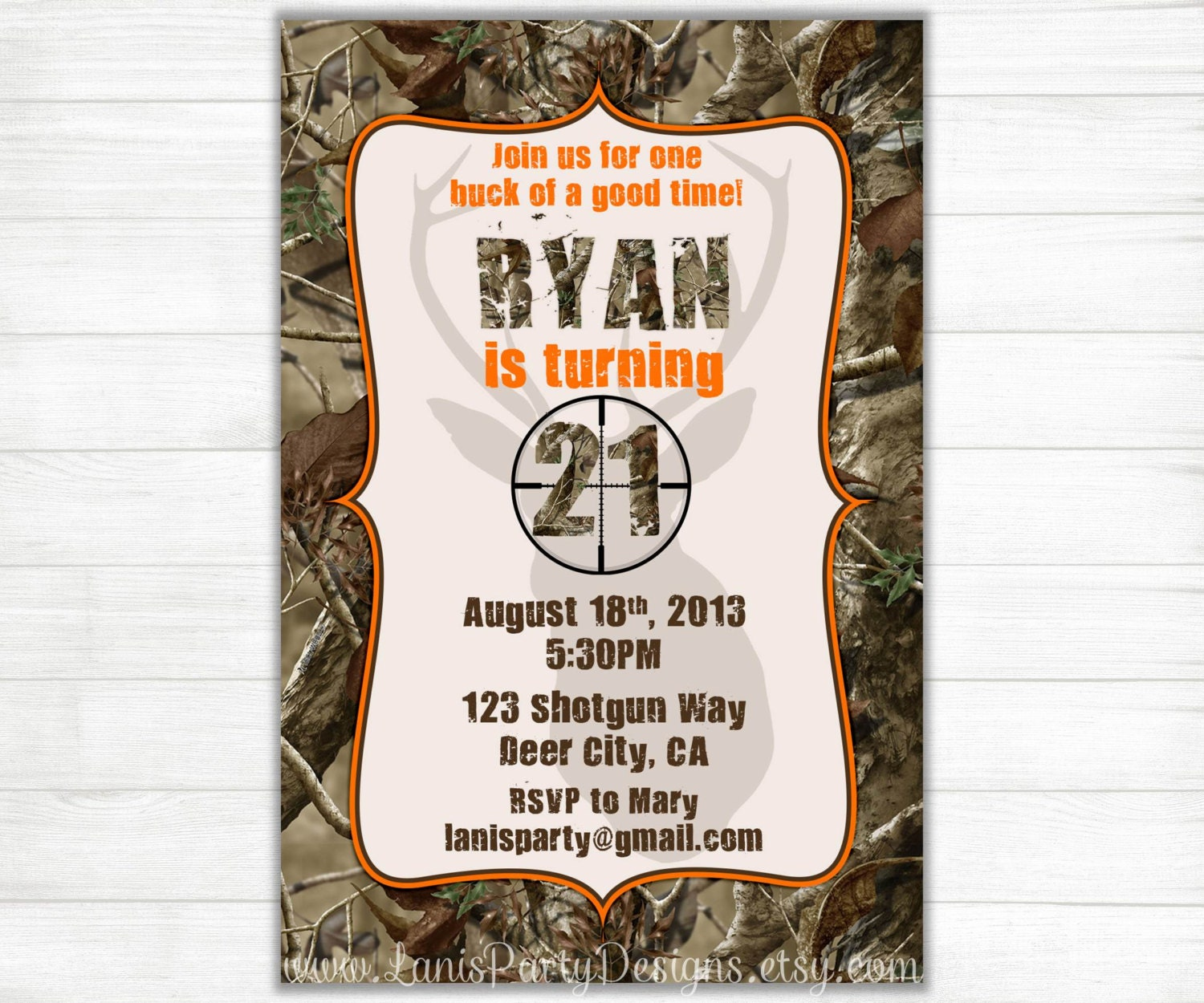 Camo birthday invitations buck hunting 21st 18th 16th zoom filmwisefo Images