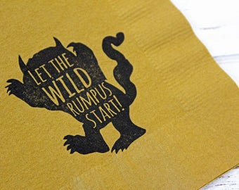 Where the wild things are Napkins - Set of 25 - 3 ply, 1/4 fold Luncheon napkins