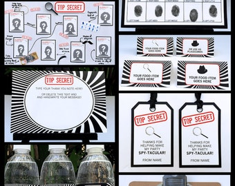 Spy Party Invitations & Decorations - Secret Agent Birthday - full Printable Package - INSTANT DOWNLOAD with EDITABLE text - you personalize