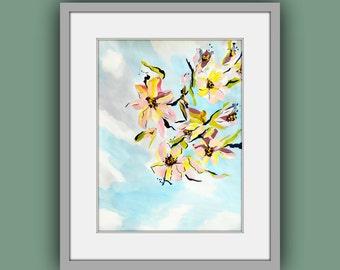 Printable Art, Instant Digital Download Art, Flower Painting, Fine Art Prints, Contemporary Art, Abstract Flower Painting, Modern Art