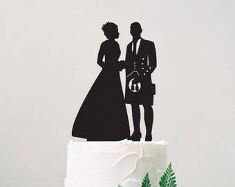 Scottish Wedding Cake Topper, Wedding Cake Decoration, Cake Topper With Pet, Scottish Wedding Decor, Groom in Kilt Cake Topper