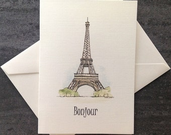Assorted watercolour card set.  Eiffel Tower, Paris card.   Free shipping to Canada/US!  Textured linen greeting cards. Set of 8 or 25.