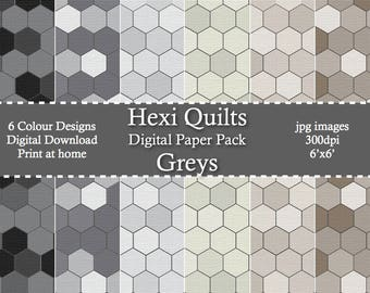 Grey Tone HexiQuilts Digital Patterned Paper Pack