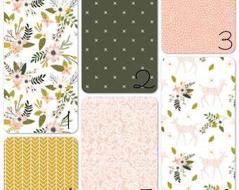 Nursery Bedding Set - Sprigs and Blooms, Green, Mustard, Pink