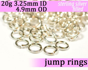 20g 3.25 mm ID 4.9 mm OD silver filled jump rings -- 20g3.25 jumprings