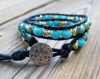 Aqua/ gold glass bead double wrap bracelet