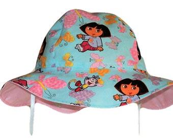 Girls Sun Hat, Dora Hat, Toddler Sun Hat, Birthday Gift, Summer Hat, Floppy Beach Hat, Cotton Hat, Wide Brim Sun Hat, Girl Summer Clothes