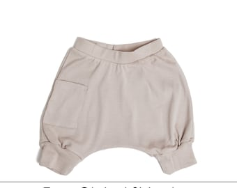Kids Clothes - Organic Toddler Clothes, Toddler Harem Shorts, Toddler Shorts, Kids Shorts, Toddler Boy Shorts - Mocha, Free Shipping