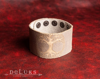 Celtic Leather Bracelet  , Men's Leather Wristband , Norse  Bracelet , Nordic Leather Bracelet Cuff , Men's Cuff Bracelet , Tree of Life