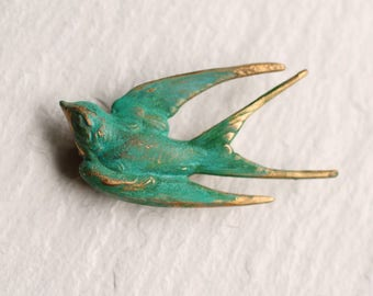 Swallow Bird Brooch... Bird Pin Turquoise Verdigris Vintage