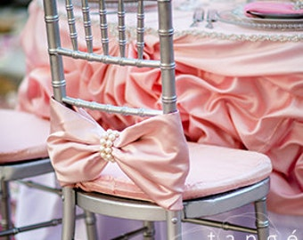 Bows with large Pearl Wrap Chiavari Chair Covers for the Bride and Groom, Baby Shower, Quinceanera or Special Event