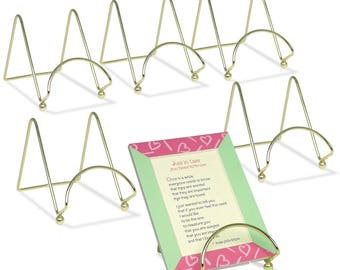 """Brass Wire Easel Display Stand - Smooth Brass Metal - 3""""H - Pack of 3  1303-3"""