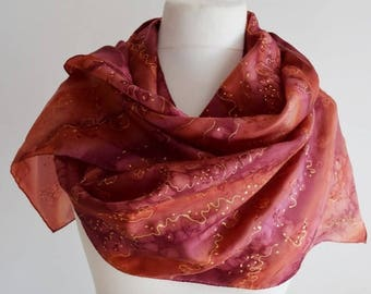 Maroon terracotta silk scarf, autumn fall scarf