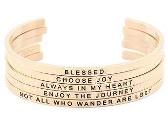 Stainless Steel Rose Gold Stamped Mantra Statement Cuff Bangle Bracelet - Breathe, Love, Live, Believe