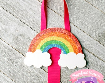 Glitter Rainbow Hair Bow Holder - Rainbow Hairbow Organizer - Rainbow Hair Clip Storage - Bow Hanger - Hair Bow Storage - Hair Clip Ribbon