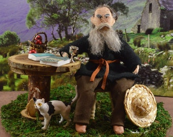 Leo Tolstoy- Diorama Art- Doll Miniature- Russian Author- Unique Art- War and Peace-Classic Literature Author