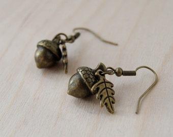 Brass Acorn Charm Earrings | Fall Acorn | Nature Jewelry | Woodland Acorn Earrings