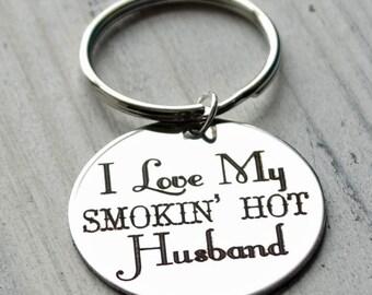 I Love My Smokin Hot Husband Personalized Key Chain - Engraved