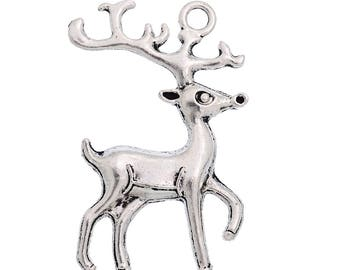 x 1 pendant 36 mm in antique silver reindeer charm.