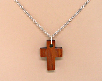 Wood Cross Silver Chain Necklace Minimal Jewelry Faith Religious Christian