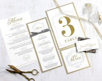 """Gold Menu Cards, Wedding Place Cards, Elegant Wedding Table Numbers, Gray, Gold & Ivory - """"Antique Glitter"""" Deposit"""