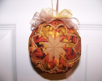 Fall Oranges, browns and tans quilted ornament
