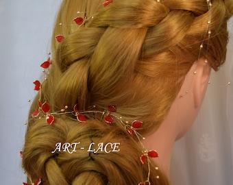 Bridal Hair vine Chinese red flower bridal hair accessories Red Bridal head band Gold hair accessories flower head crown Delicate headpiece