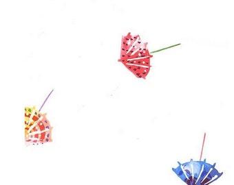 Wallpaper Paper Drink Umbrellas - Bright Pink, Purple, Red, Yellow - Fun, Island Decor, Cabana, Beach, Bar -  By The Yard - BK61003