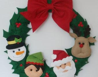 Christmas wreath - Santa, snowman, reindeer and elf