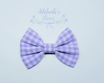 Lavender Gingham Hair Bow