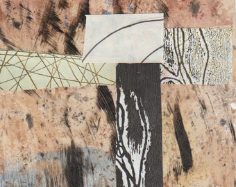 Safari - Collage Original dessiné et peint à la main avec des papiers de 4 x 4 sur 5 x 5» support