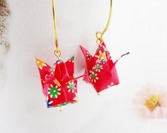 Boucles d'oreilles origami tulipe motif rouge et coloré pliage papier japonais