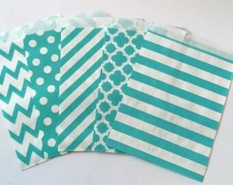 Aqua Party Favor Bags 5x7 Aqua Paper Treat Bags Candy Buffet Party Favor Wedding Favor Bags Goodie Bags Popcorn Bakery Bags- 20 count