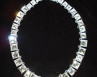 Square Rhinestone Graduated Silvertone Necklace