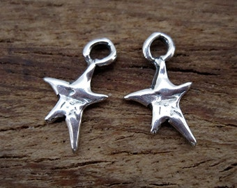 Tiny Sterling Silver Whimsical Artisan Star Charms (set of 2) (C) (N)