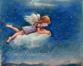 """Little Angel - ORIGINAL pastel painting -  """"Your Guardian Angel""""  Christmas art, by Laurie Shanholtzer"""