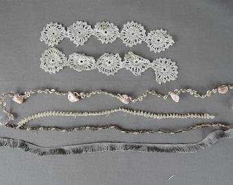 Antique Trim Remnants, Dainty Lace, Narrow Floral Trim and Fringe, early 1900s Vintage Dress Trims Lace Scraps