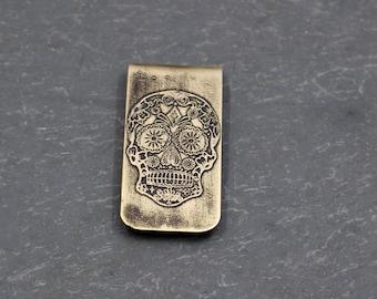 Etched Sugar Skull Money Clip