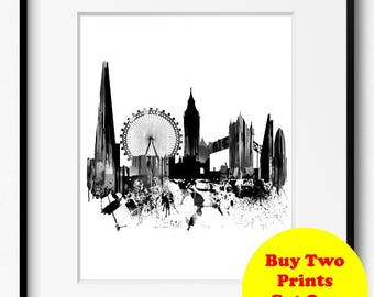 London Skyline Watercolor Black and White Art Print (740) Cityscape United Kingdom