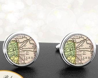 Map Cufflinks Texarkana TX Cuff Links State of Texas for Groomsmen Wedding Party Fathers Dads Men Graduation Gifts For Him